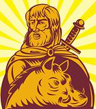 Frey Norse god of agriculture with sword and boar