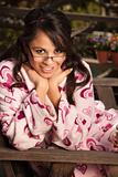 Pretty Hispanic Woman in Bathrobe