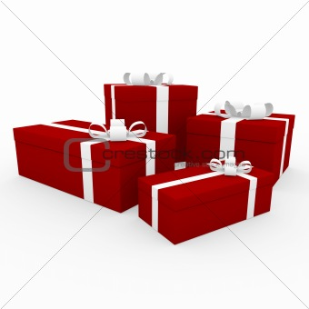 3d red white gift box