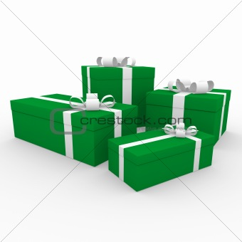3d green white gift box