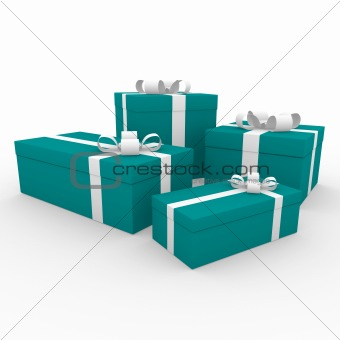 3d turquoise white gift box