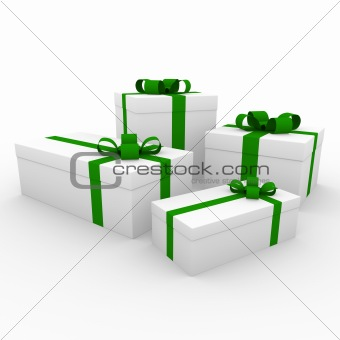 3d green white gift boxes
