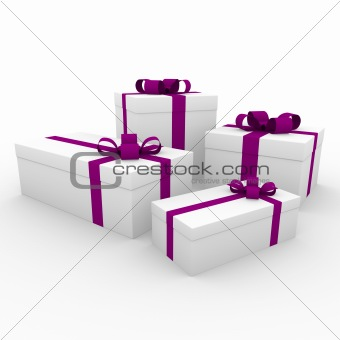 3d purple white gift box