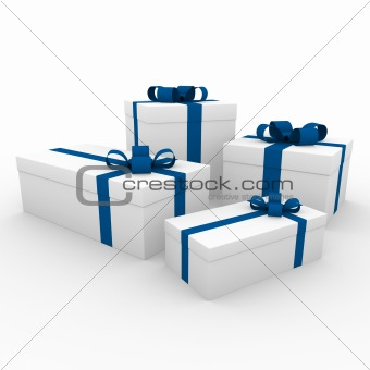 3d blue white gift boxes