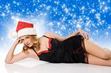 sexy girl with christmas hat laying
