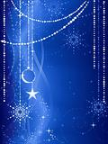 Blue Christmas background with ornaments