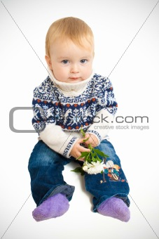baby with flowers