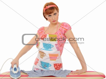 Beautiful angry house woman ironing. isolated on white backgroun