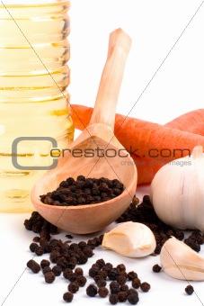 carrots, garlic, black pepper and oil
