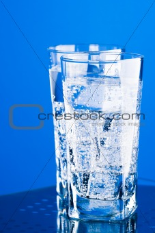 three glasses with cold water
