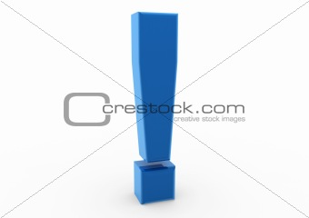 3d exclamation mark symbol blue