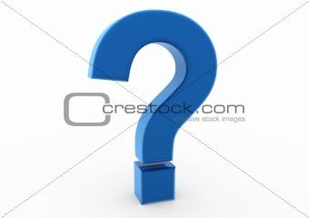 3d question mark blue