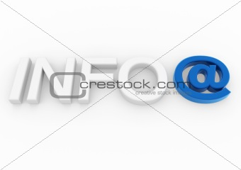 3d info email symbol blue