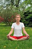 Young woman doing yoga - meditation
