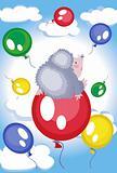 Hedgehog flies at the balloon