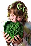 woman with fresh savoy cabbage