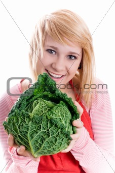 beautiful woman with fresh savoy cabbage