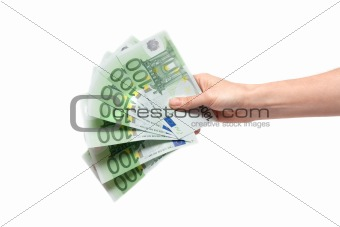 One hundred euro in feminine hand