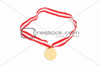 Golden medal isolated on the white background