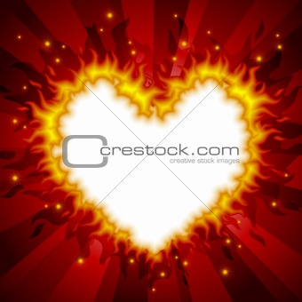 Fiery heart card