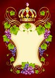 Vector grape frame with crown 02