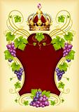 Vector grape frame with crown 03