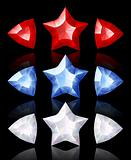 Jewelry icons of stars and arrows: red, blue, white