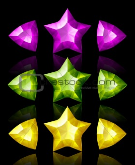 Jewelry icons of stars and arrows: violet, green, yellow