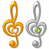 Treble clef in the shape of heart