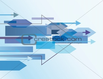 Blue abstract background with arrows. Vector illustration