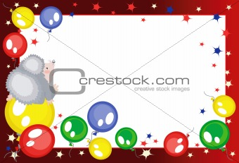 Background with balloons and hedgehog,