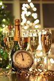 Four glasses of champagne ready for the New Year