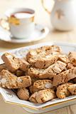 Italian cantuccini cookies with tea 