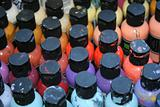 Colorful paint bottles
