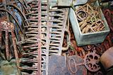 Assorted rusted tools