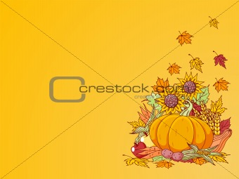 Harvested fruits and vegetables background