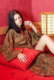 Resting woman in kimono
