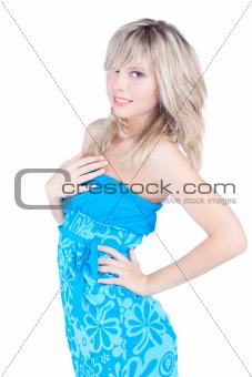 beautiful woman over white background