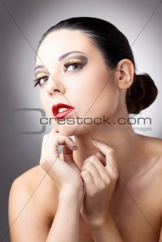 beautiful woman over grey background