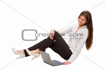 Beautiful businesswoman with laptop