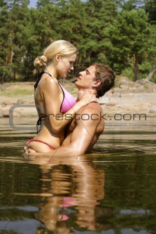 kissing in the water