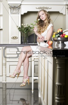 Blonde with white rose
