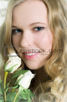 Blonde with flowers