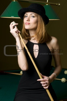 blonde with cue