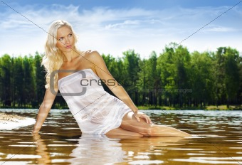 Blonde in the water