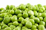 Pile of green peas isolated on the white background