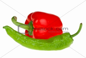 Green chili and red bell peppers