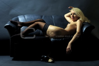 Blonde on the sofa