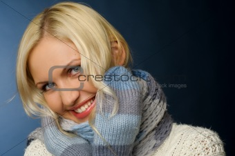 blonde girl in winter clothes