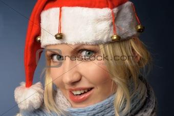 blonde girl in santa hat